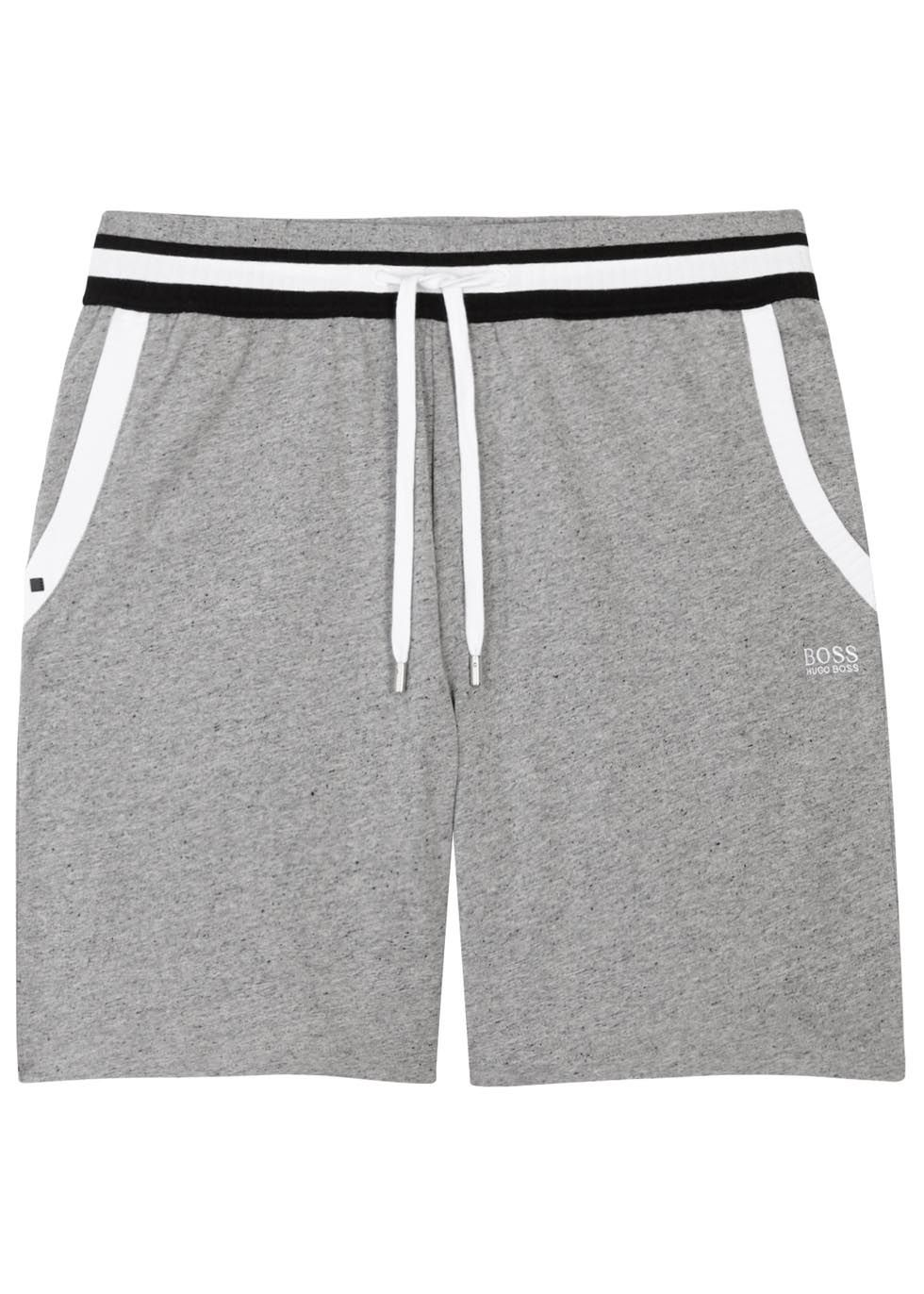 9dc037598 BOSS grey mélange cotton shorts Striped ribbed drawstring waist and trim,  side slant pockets, embroidered designer logo Pull on 100% cotton; ...
