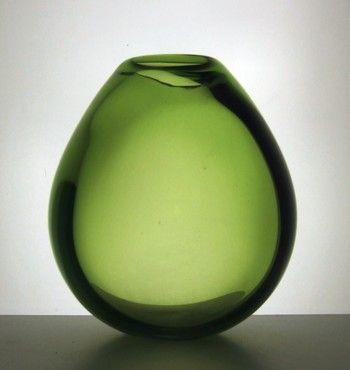 Signed Per Lutken Holmegaard art glass drop vase