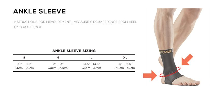 Tommie Copper Ankle Sleeve Size Chart