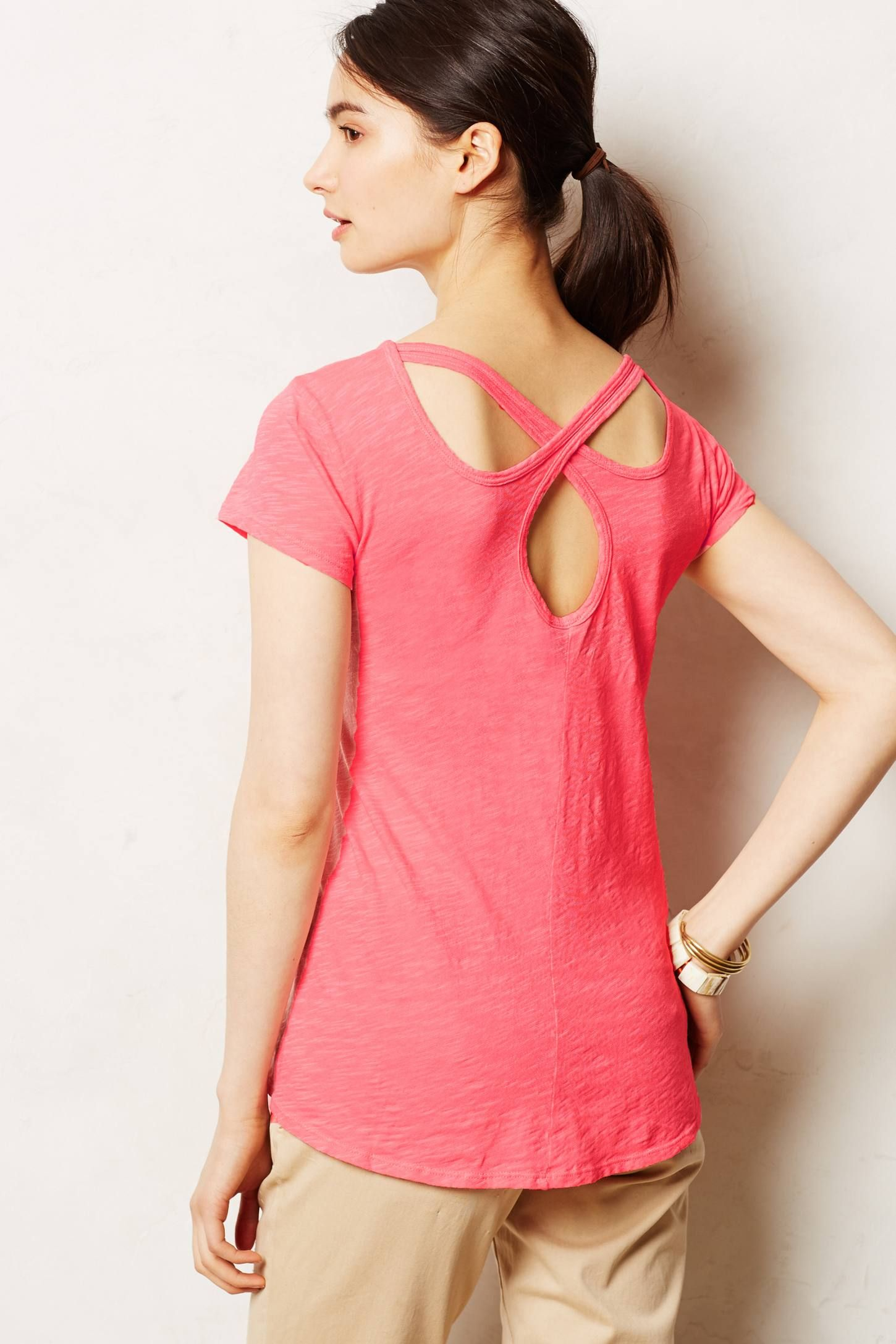 Lunation Tee in Coral - anthropologie.com