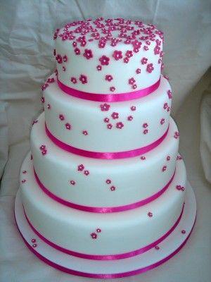 Hot pink wedding cake!