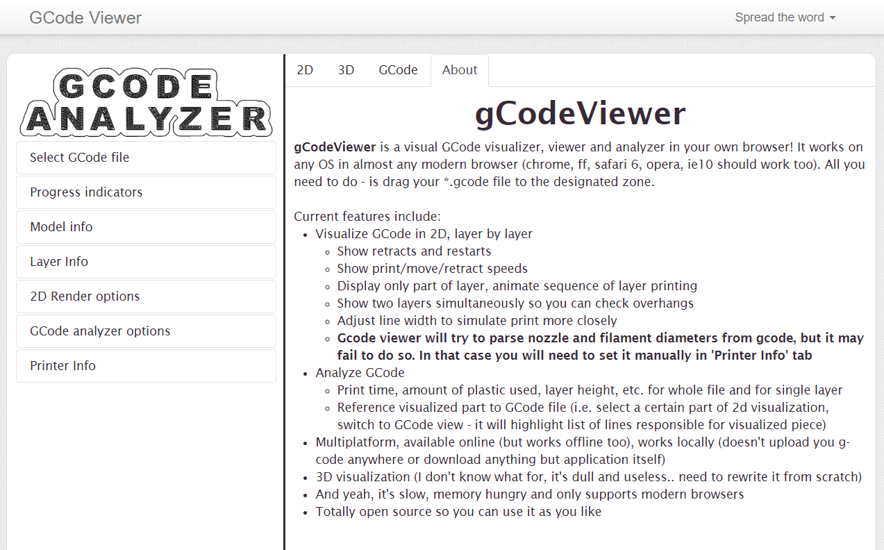 gCodeViewer is a visual GCode visualizer, viewer and