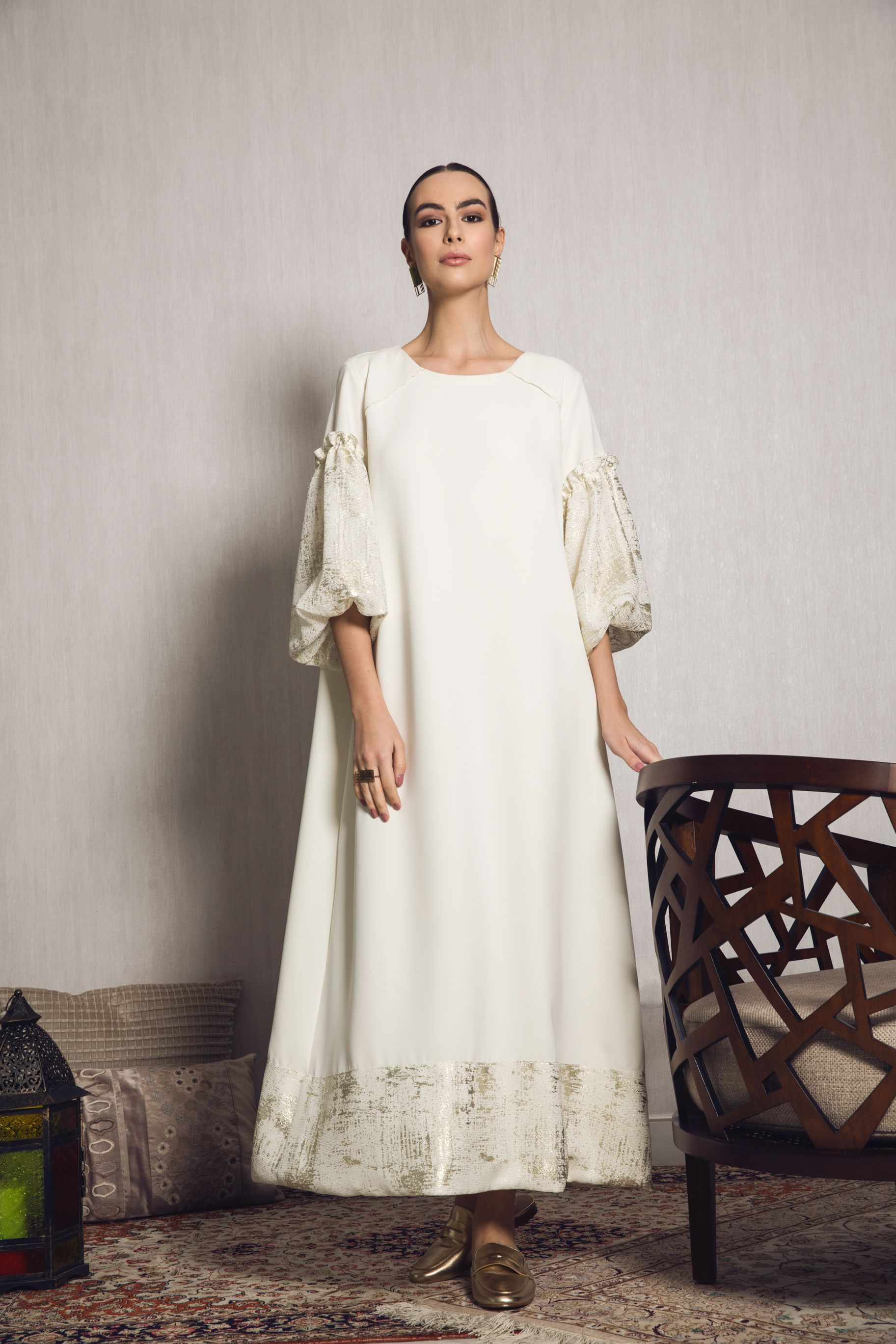 0243e9a5867 MOUNAY Ramadan dara3a kaftan dress abaya oversized mesh sleeves ...