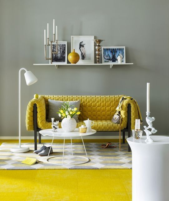 Yellow Couch Grey Walls Yellow Living Room Sofa Decor