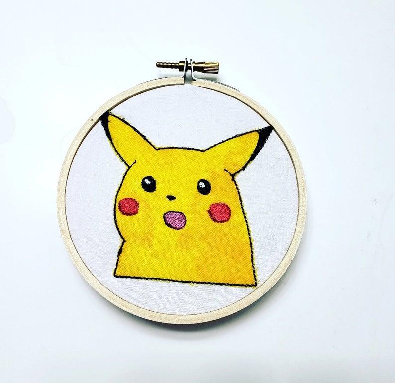 Surprised Pikachu Meme Pikachu Meme Hoop Art Or Towel Etsy Funny Embroidery Hoop Art Pikachu