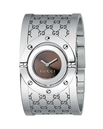 2ca00156f3d ... Gucci Wrist watches for Women. Twirl Stainless Steel Flip Bangle Watch