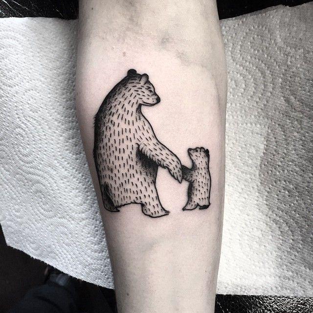 Bear Tattoo Small: Little Bears Holding Hands From Tho Morning @sacredartmcr