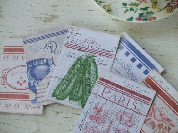 Blank notecards - French Linen - notecards - shabby chic notecards - scrapbooking - embellishments