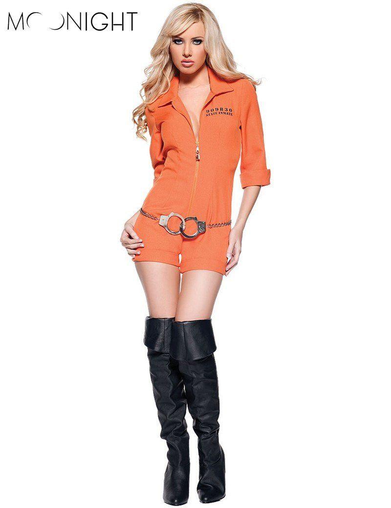 b127b4ee957c MOONIGHT Orange Escaped Prisoner Inmate Prisoner Jumpsuit Sexy Prison  Jailbird Convict Halloween Costume Women Sexy Adult