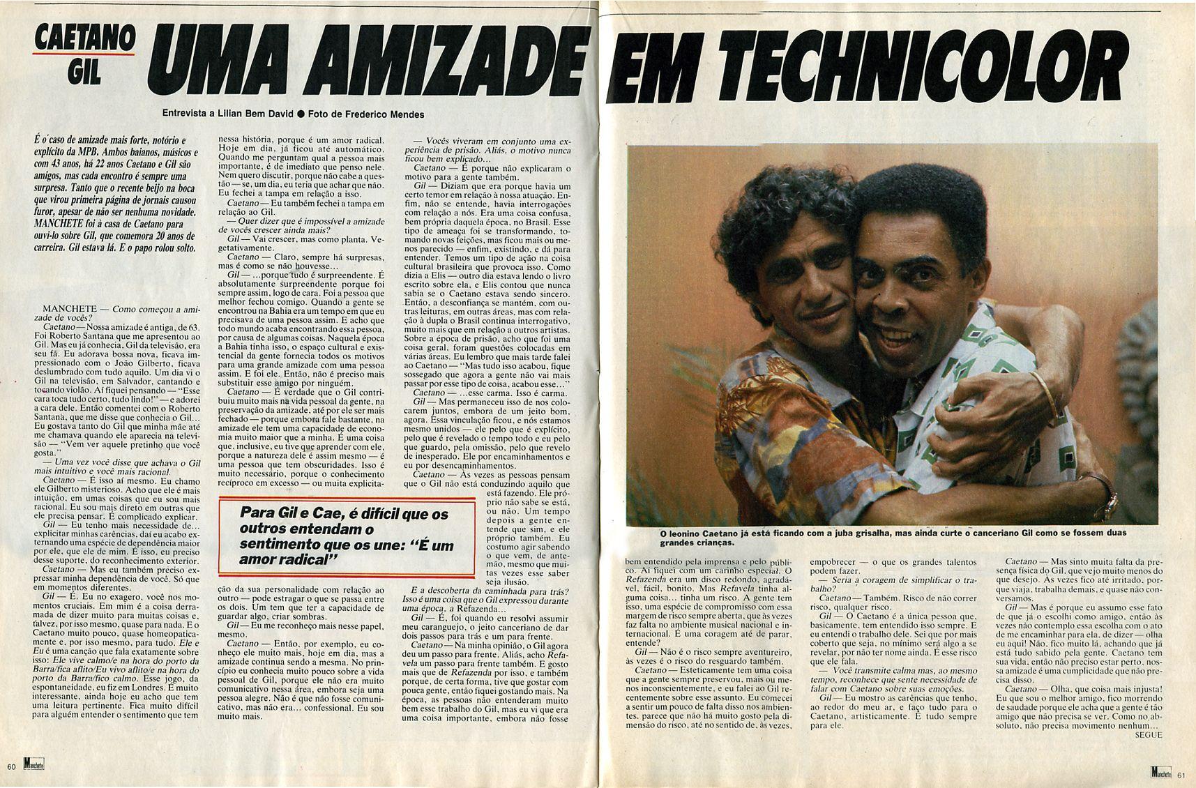 """""""Caetano-Gil - Uma Amizade em Technicolor"""" - entrevista na revista """"Manchete"""" de 1986 - página 1/2."""