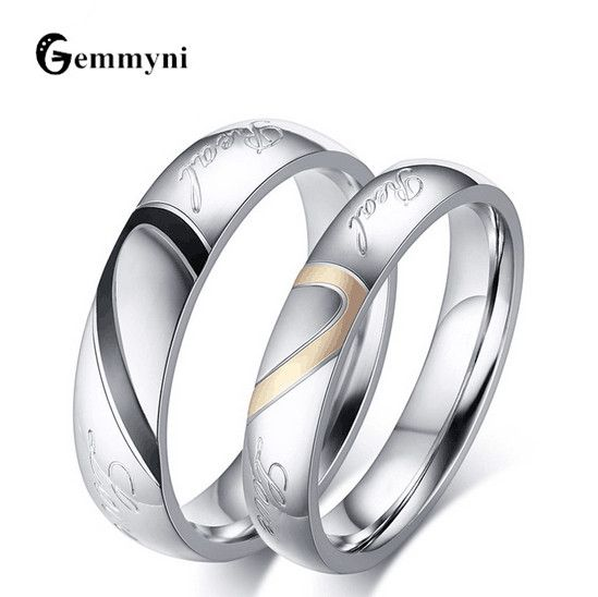 Parejas del anillo de acero inoxidable para hombres mujeres sortijas compromiso UK