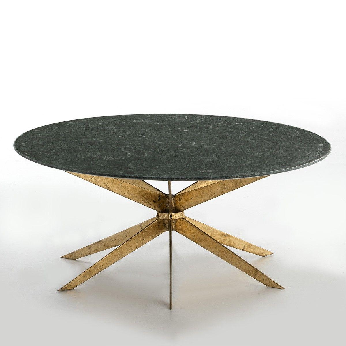 Thai Mobilier Table Basse Ronde Marbre Vert Et Metal Dore Thierry Lestendances Fr Table Basse Ronde Table Basse Marbre Vert