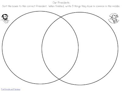 Presidents Day Abe George Venn Diagram With Cut Paste Options