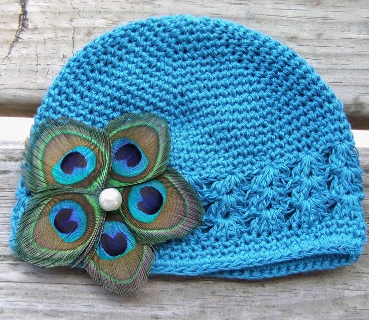 f2124702afd1 Wholesale Blue Crochet Newborn Baby Hat With Peacock Feather Flower ...