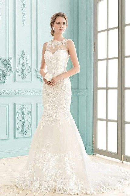 Bateau Sleeveless Floor-length Lace Illusion Back Mermaid Dress ...