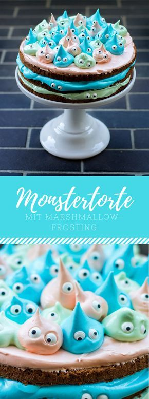 Monstertorte mit Marshmallow Frosting / Creme. Leckeres Rezept für Geburtstage, Kinderpartys oder Halloween! #veganmarshmallows