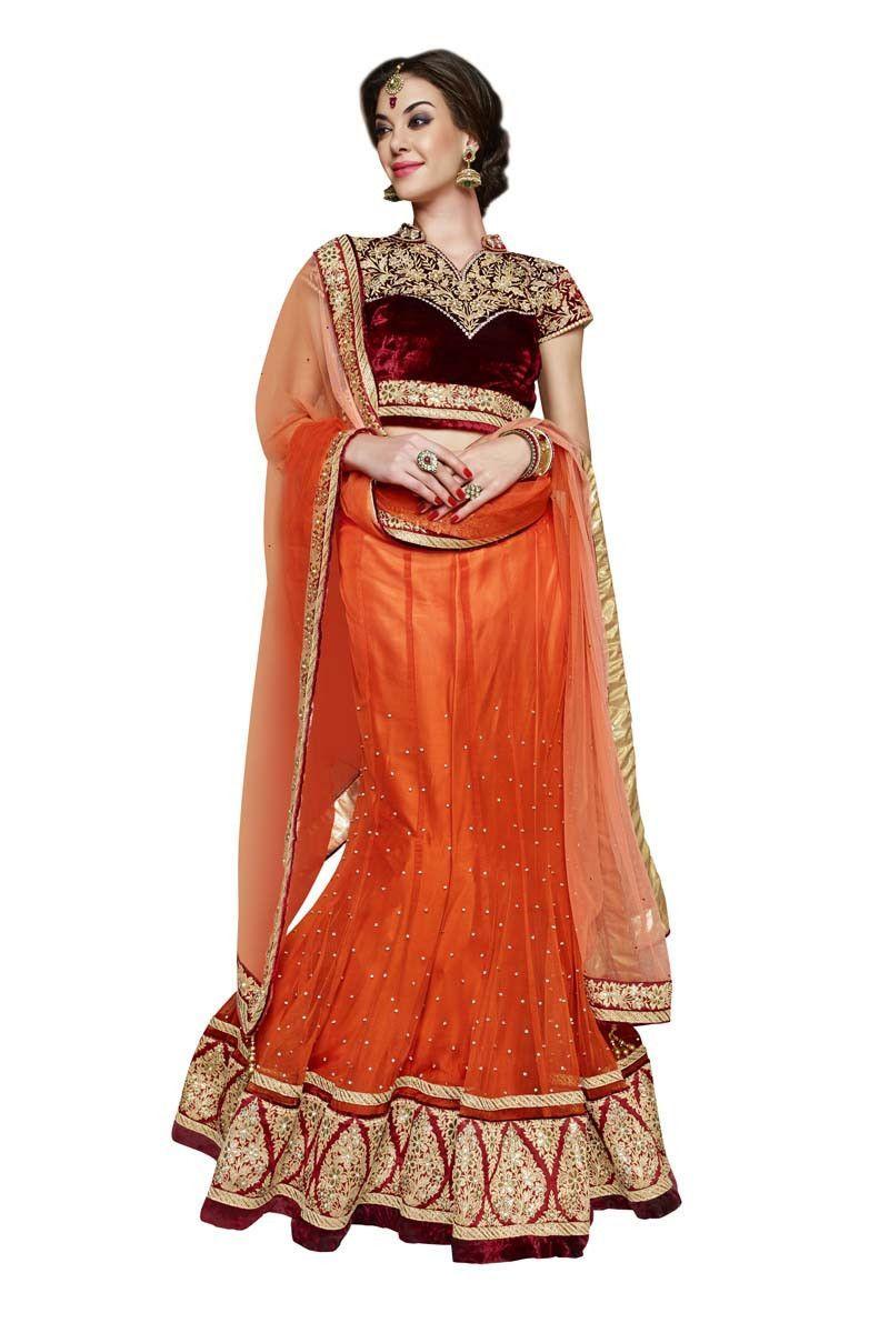 Orange net designer ghaghra choli products pinterest products