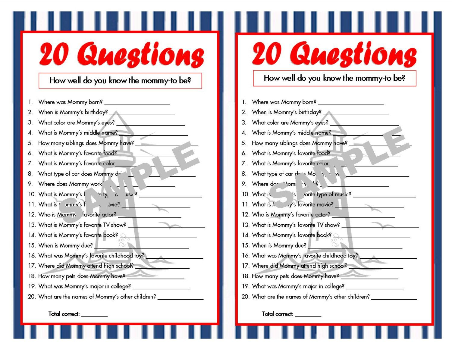 20 Questions Nautical Printable Party Game, Nautical Baby Shower, Nautical  Theme, Who Knows Mommy Best, How Well Do You Know Mommy