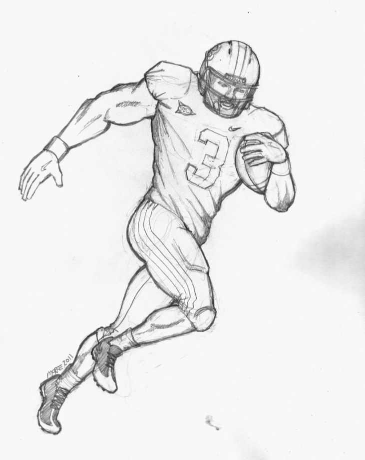 Football Player Coloring Page Football Drawing Football