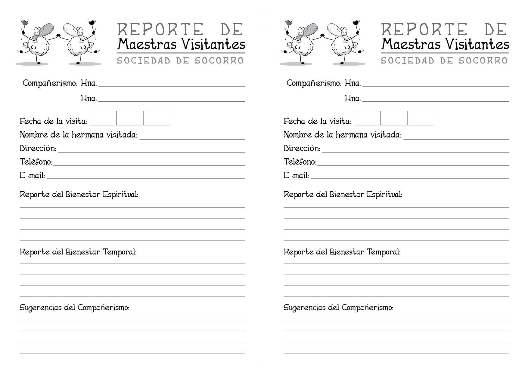 Modelo de reporte o informe de las visitas de las Maestras ...
