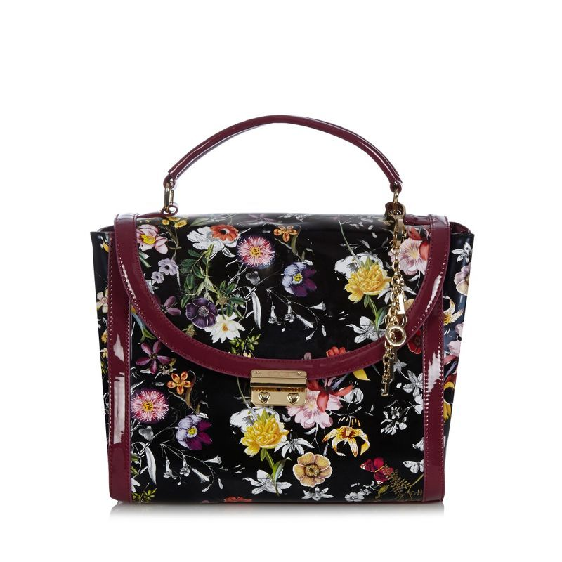 Purple floral patent tote bag