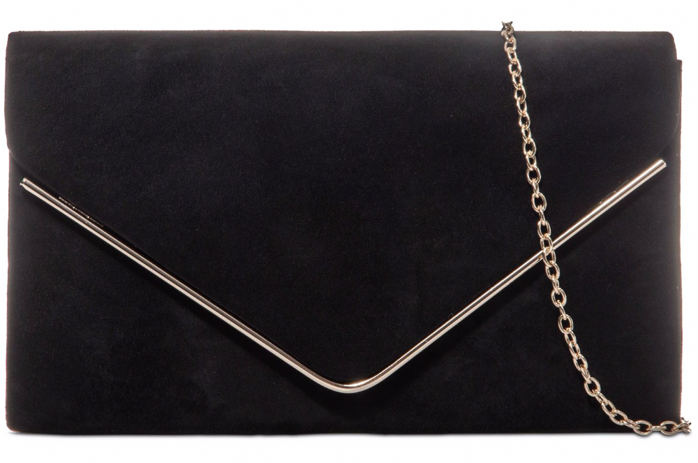 Black Clutch Bag Faux Suede Evening Bag Medium Prom Shoulder Bag Wedding Handbag
