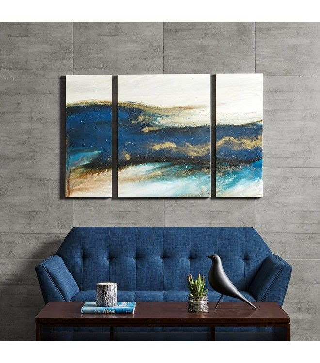 Blue Gold Abstract Wave Wall Art Set Of 3 Wall Art Sets Blue Wall Art Canvas Wall Art Set