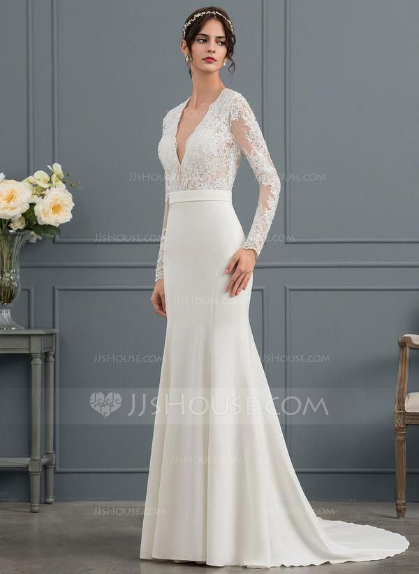 1e715992b237 Trumpet/Mermaid V-neck Court Train Satin Wedding Dress With Beading Sequins  (002153459) #Satinweddingdresses