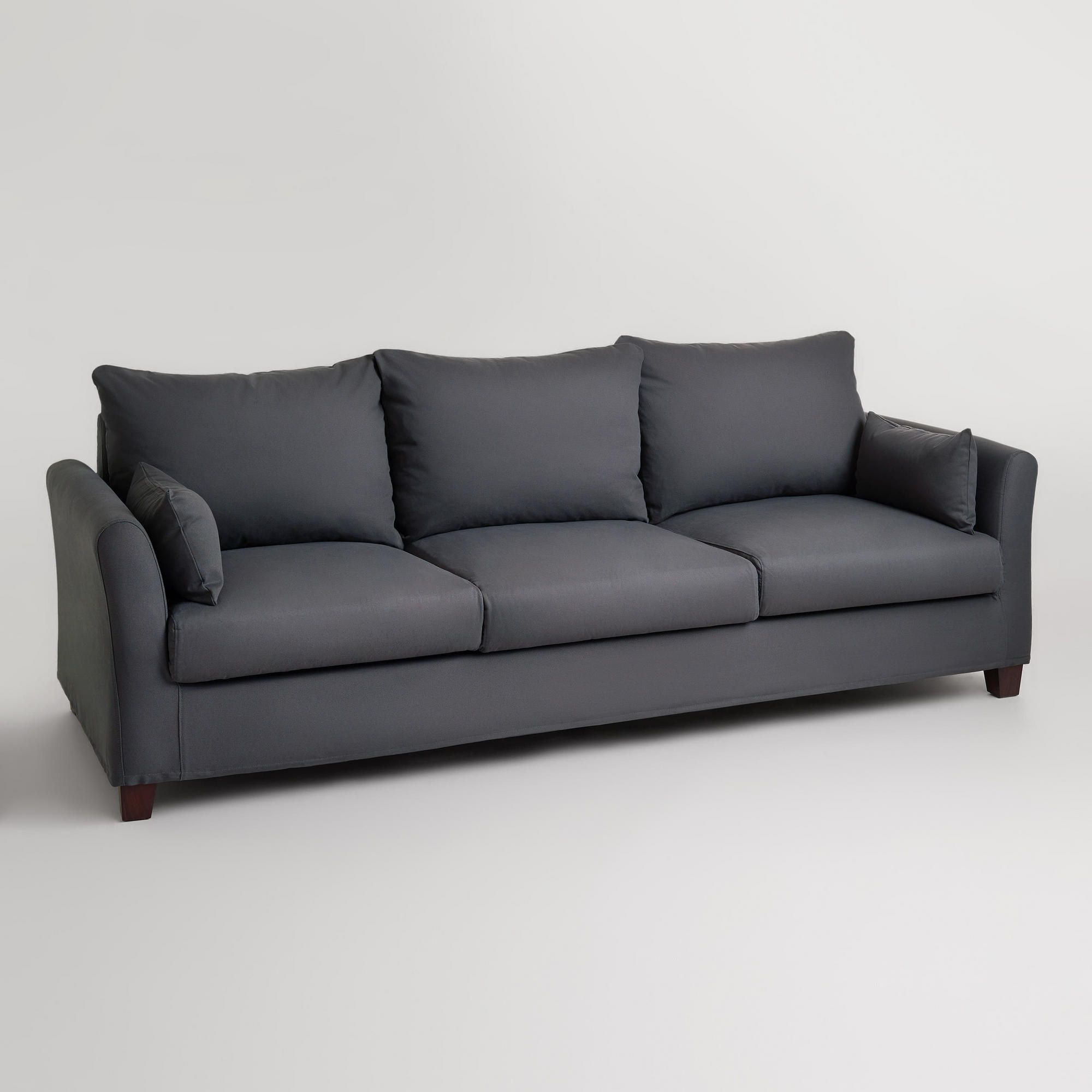 charcoal canvas luxe 3 seat sofa slipcover world market 699 400