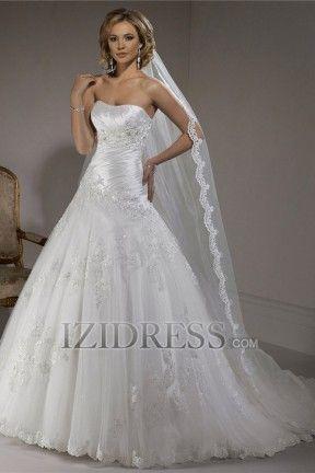 A-Line Ball Gown Strapless Sweetheart Organza Wedding Dress - IZIDRESS.com at IZIDRESS.com