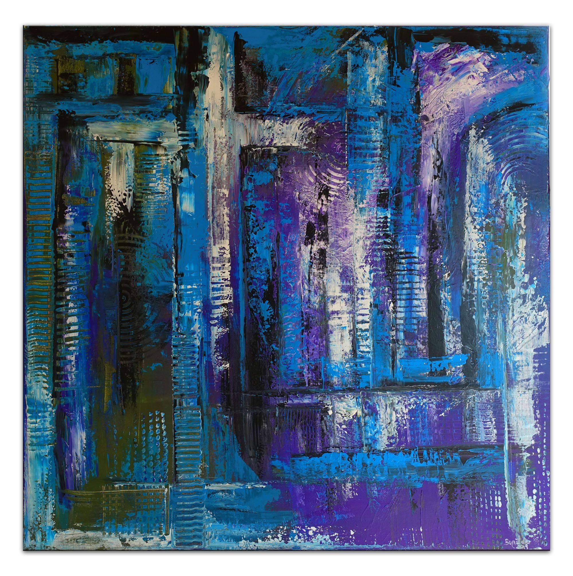 Abstraktes Kreuz Blau Turkis Lila Acrylbild Strukturbild In 2020
