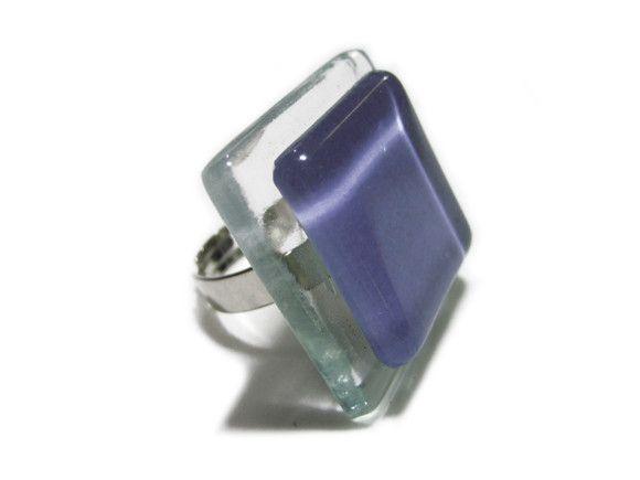 vidro  incolor/lilás Base metal n 20 - Ajustável gema de vidro 3 x 3cm R$24,00