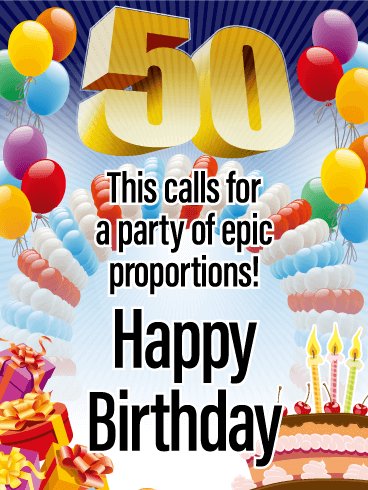 Epic Proportions Happy 50th Birthday Card This 50th Birthday Card