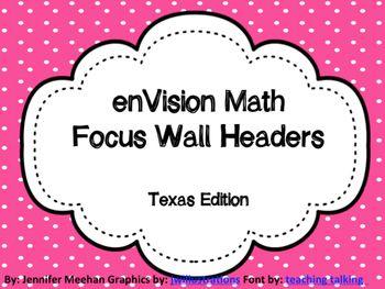 enVision Math Focus Wall Headers | 2nd Grade | Envision math
