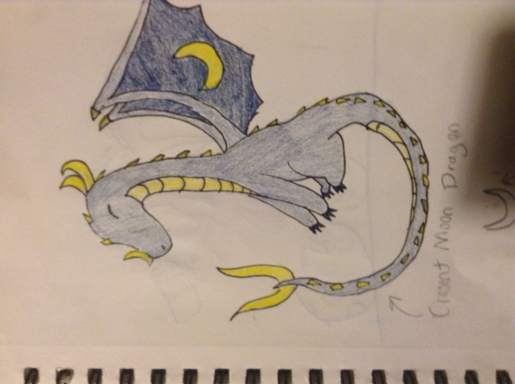 Crescent moon dragon I drew this like 3 years ago XD