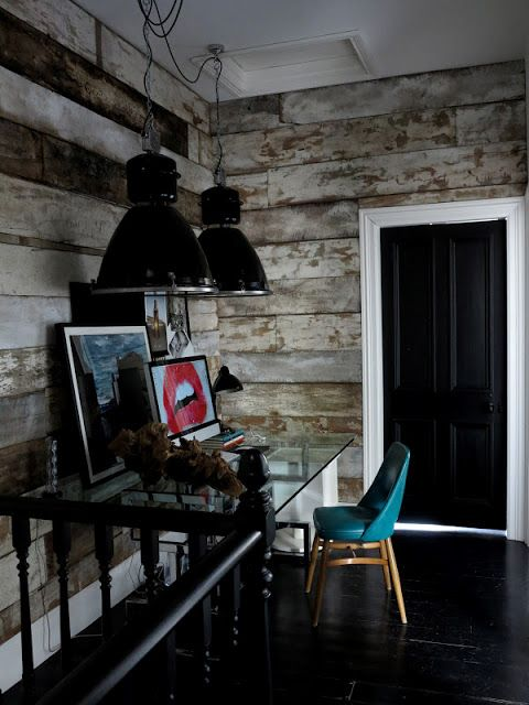 47 Park Avenue Trendy Home Office Rustic Distressed Wood Walls