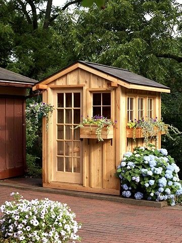 Gardening Shed. Construct A Cute Garden Shed In A Weekend With A Kit.  Prefab Wall Panels Go Up Quickly, And Doors And Windows Slip Into Precut  Openings.