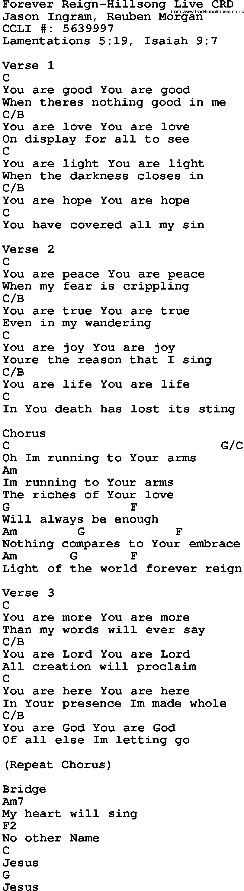 Gospel Song Forever Reign Hillsong Live Lyrics And Chords
