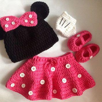 Minnie Mouse Crochet Knit Set