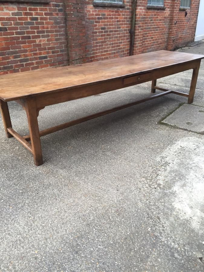 Large Dining Tables   +   A Really Lovely Restored Two Plank Antique Oak  Refectory Table With H Stretcher Lots Of Character And Lovely Top.