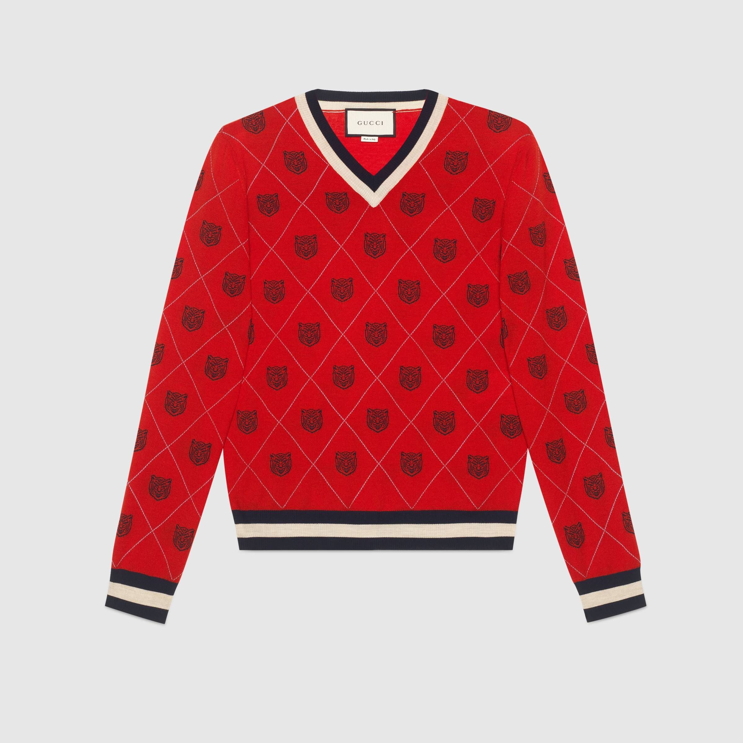 65954c2c677 Tiger argyle wool sweater - Gucci Men s Sweaters   Cardigans 474320X14646703