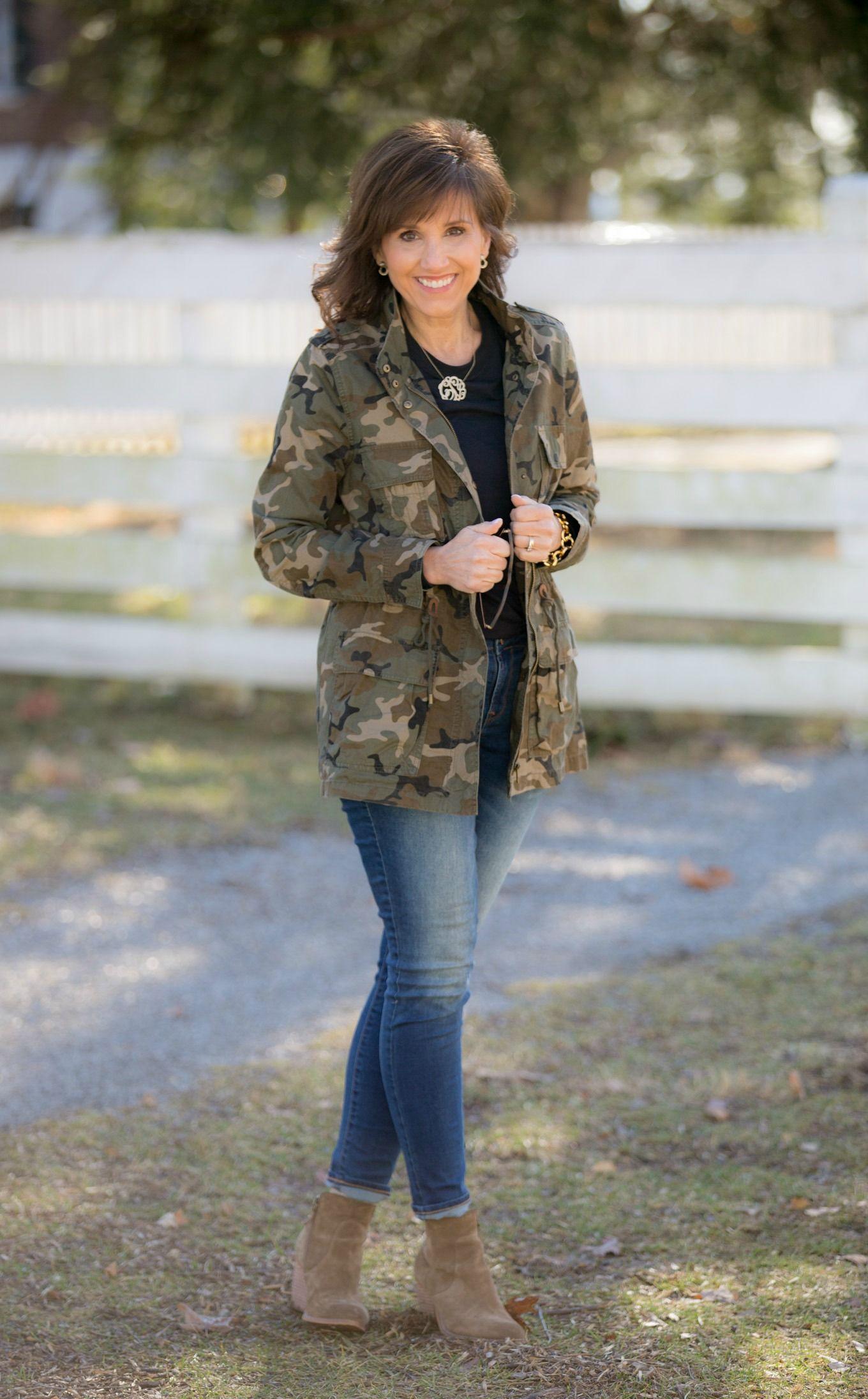 The Camo Jacket Trend Cyndi Spivey Camo Fashion Camo Jacket Women Camo Jacket Outfit [ 2191 x 1360 Pixel ]