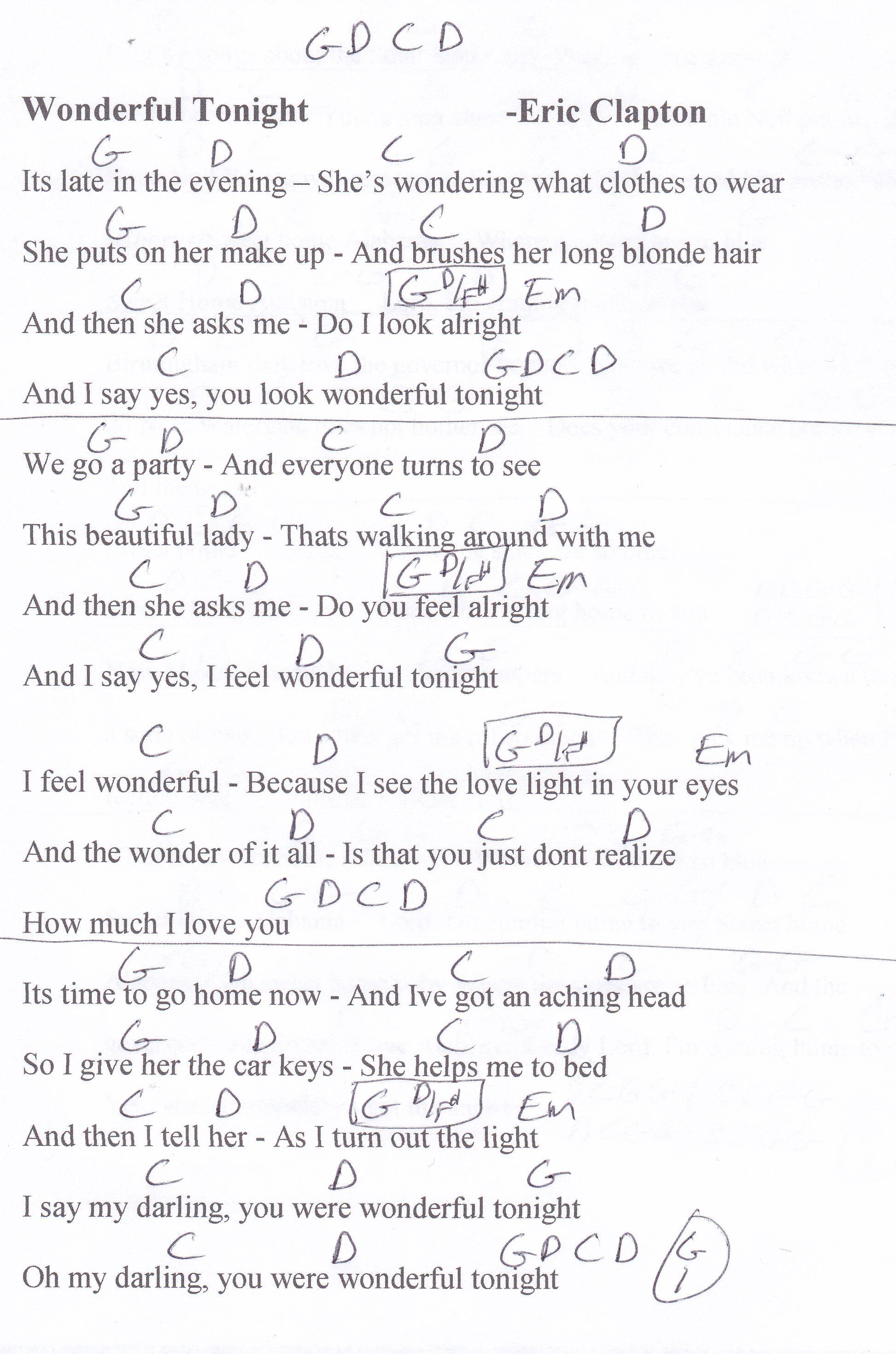 Wonderful Tonight Eric Clapton Guitar Chord Chart Ukulele Songs