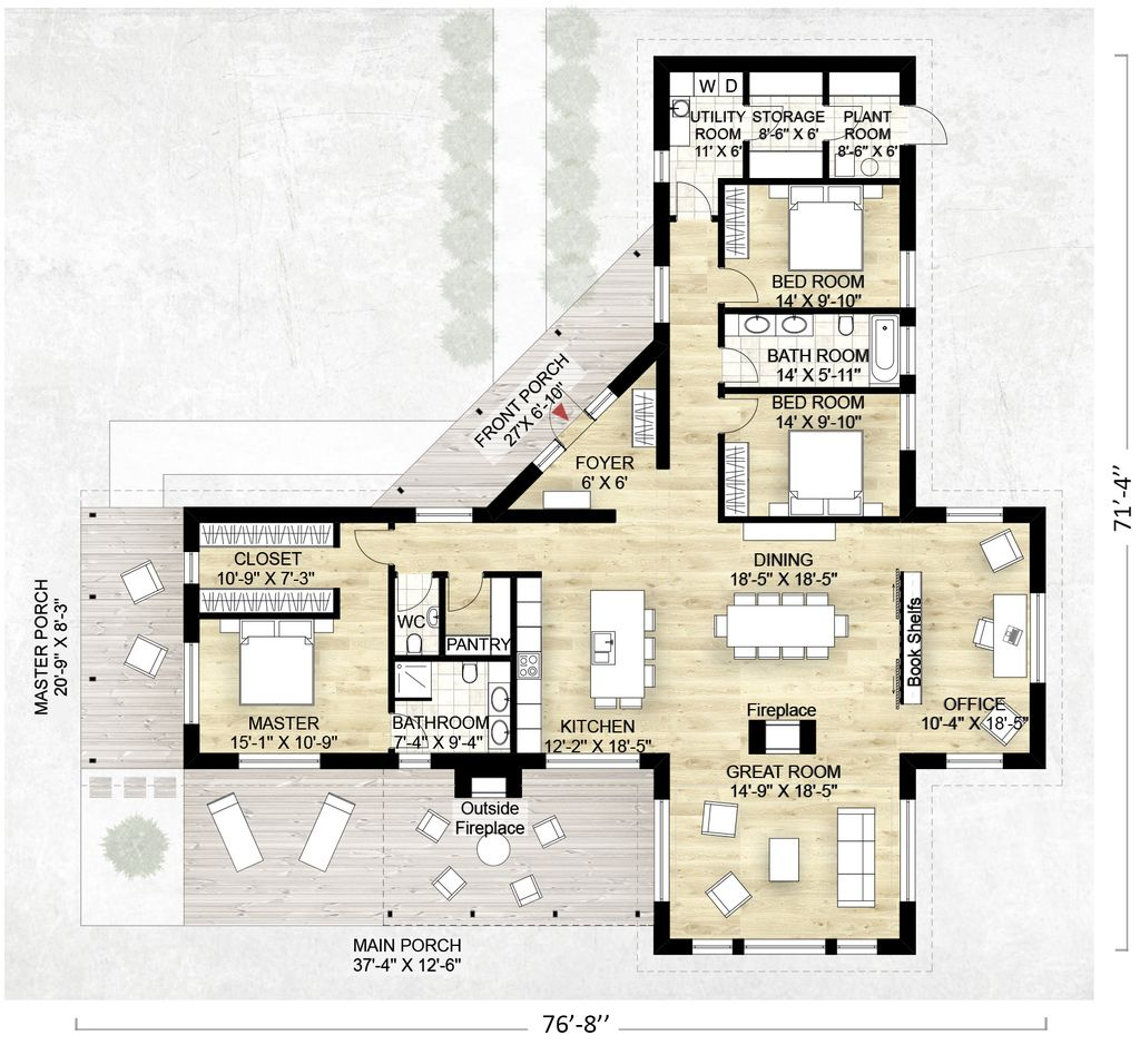 Contemporary style house plan 3 beds 2 5 baths 2180 sq ft plan 924 1 floor plan main floor plan houseplans com