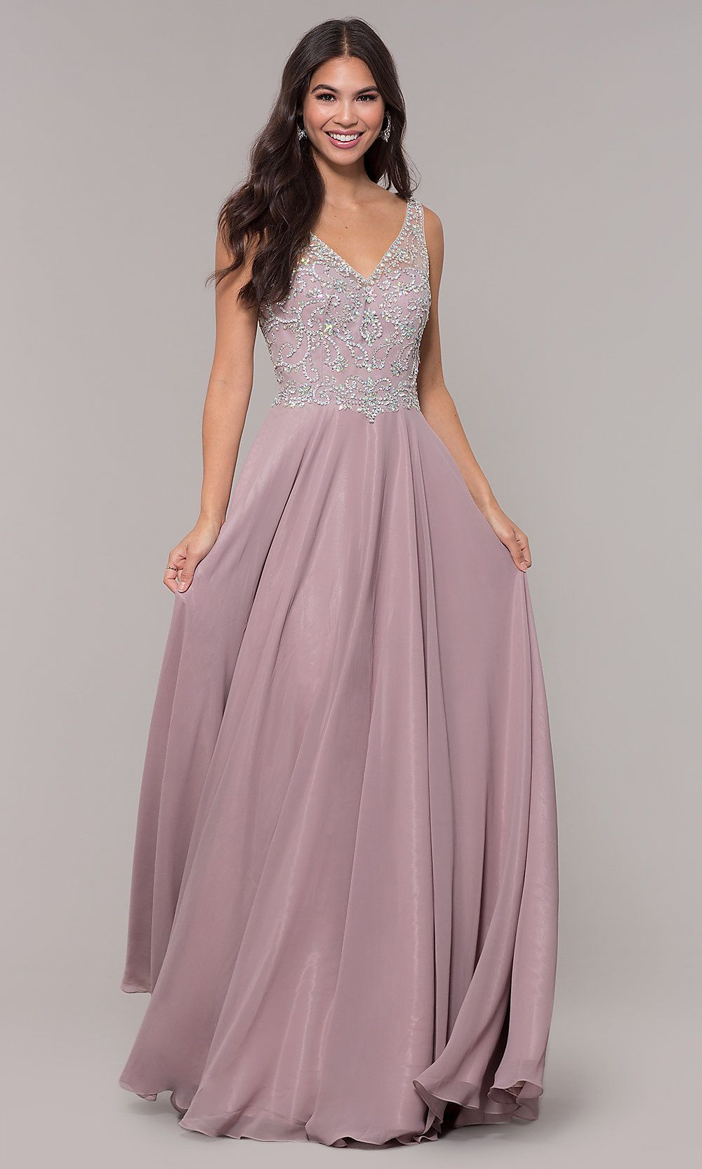 344ca94babee Long Mocha Chiffon V-Neck Prom Dress - PromGirl