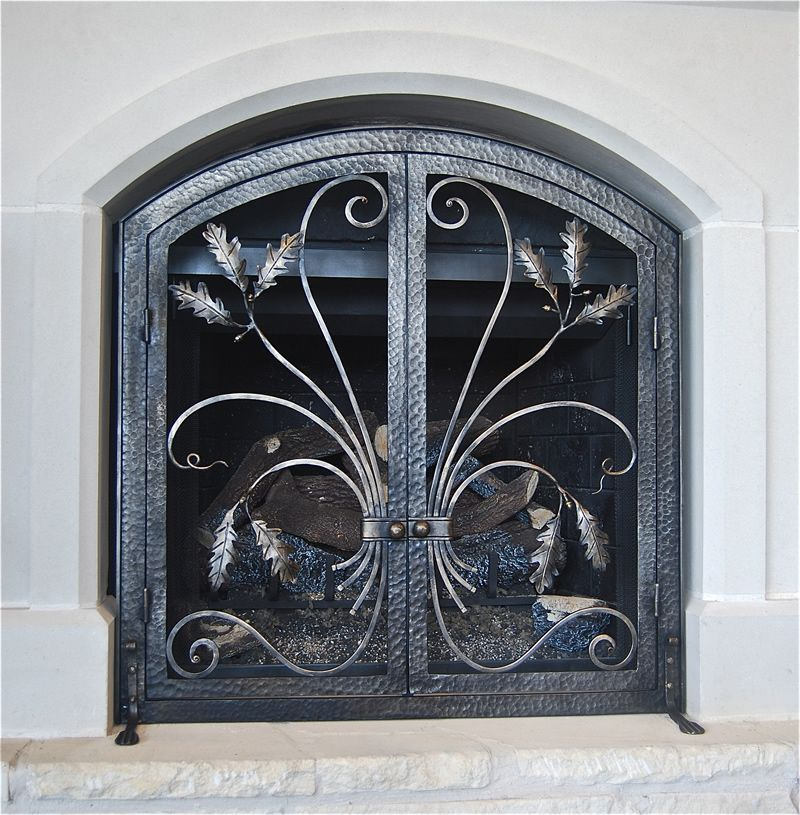 Hand Forged Fire Screen Made By Italian Iron In Austin