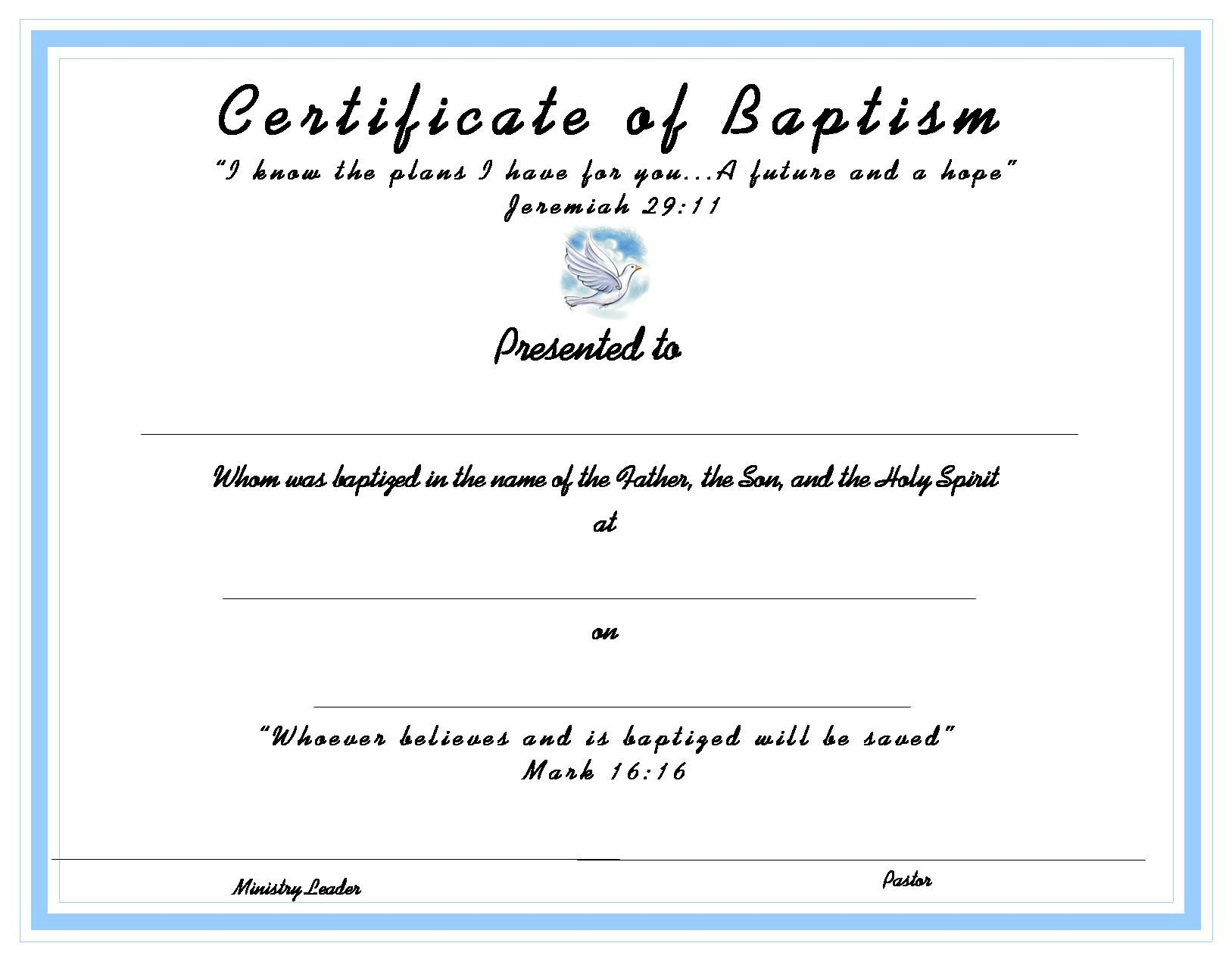 Certificatetemplate Baptism Certificate For Your Kids Ministry