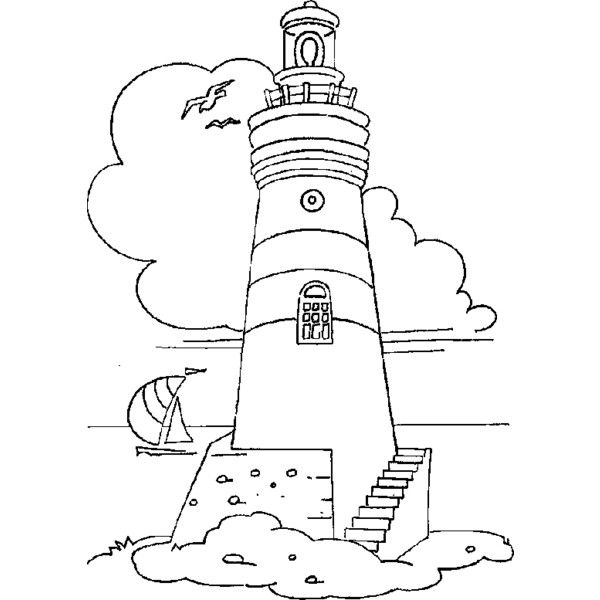 Coloring Lighthouse With Staircases Picture Liked On Polyvore Featuring Lighthouse Coloring Pages Coloring Books Embroidery Patterns