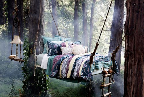 a bed/tree fort/hammock combination