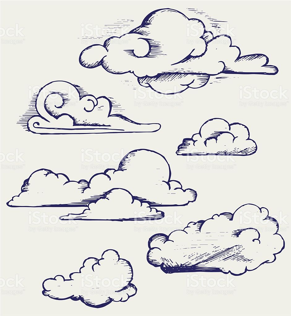 Cartoon Cloud Drawings On A White Sheet Of Paper Royalty Free Cartoon Cloud Drawings On A White Sheet Of Paper Stock Vect Cloud Drawing Cartoon Clouds Drawings